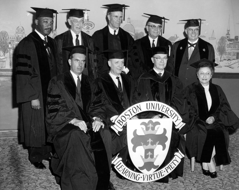 In 1959, King was among the recipients of an honorary degreee from Boston University. He had earned his doctoral degree four years before.